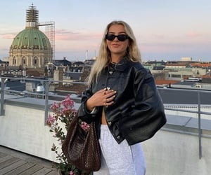 blond hair, brown leather bag, and paris france image