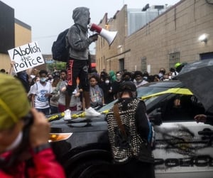 graffiti, police, and protest image