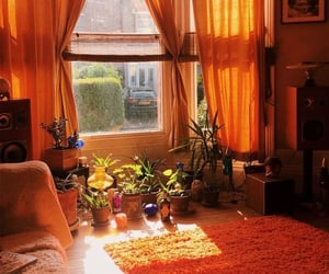 aesthetic, living room, and orange image