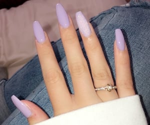 acrylic, lavendar, and nails image