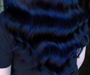 hair, dark blue hair, and blue black hair image