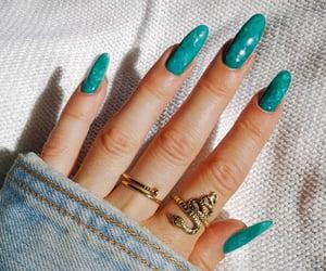 green nails, long nails, and nails image