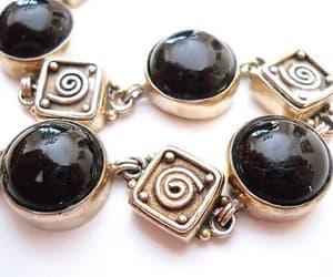 etsy, sterling silver, and black bracelet image