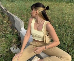 fashion, beige, and hairstyle image