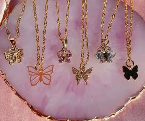 butterfly, necklace, and gold image