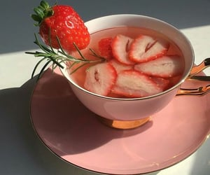 strawberry, tea, and aesthetic image