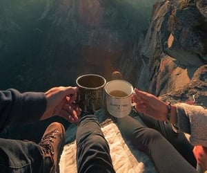mountains, adventure, and coffee image