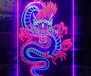 dragon, neon lights, and aesthetic image