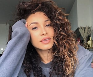 beautiful, brown eyes, and curly hair image