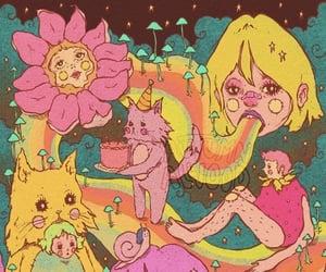 acid, girl, and mushroom image