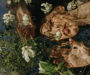 water, flowers, and girl image