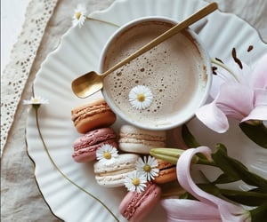 cup of coffee, flowers, and ‎macarons image
