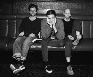 band, black and white, and lany image