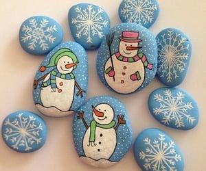 art, rocks, and snowman image