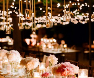 wedding, light, and flowers image