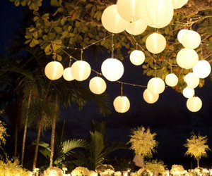 fairy lights, garden party, and party decor image