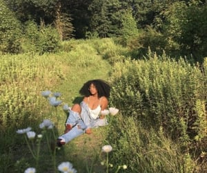 aesthetic, nature, and black girl image