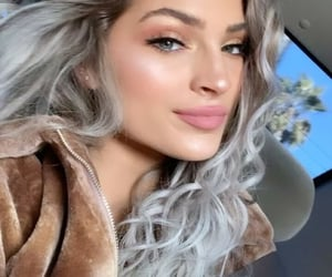 beautiful, grey hair, and smile image