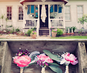 flowers, house, and wedding image