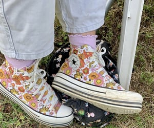 converse, floral, and flowery image