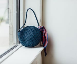 scarf, woven leather bag, and bembien image
