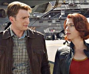 black widow, chris evans, and scarlett johannson image