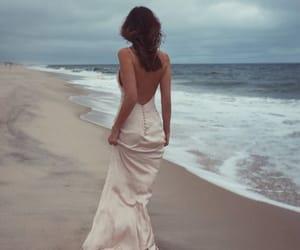 beach, dress, and sea image