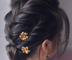 chignon, hairstyle, and cheveu image