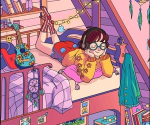 bed, books, and dream catcher image