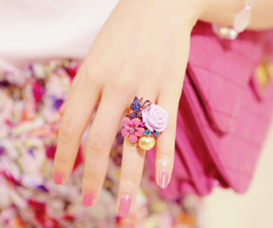 pink, ring, and flowers image