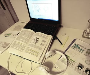 biology, laptop, and school image