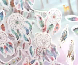 dream catcher, indian feathers, and colorful feather image