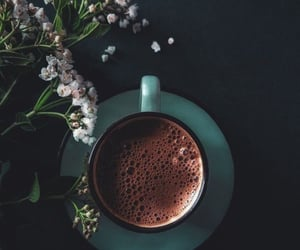 attractive, coffee, and flowers image