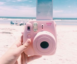 summer, pink, and beach image