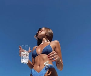 girl, summer, and blue image
