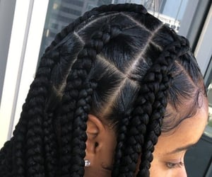 hairstyle, baby hair, and box braids image