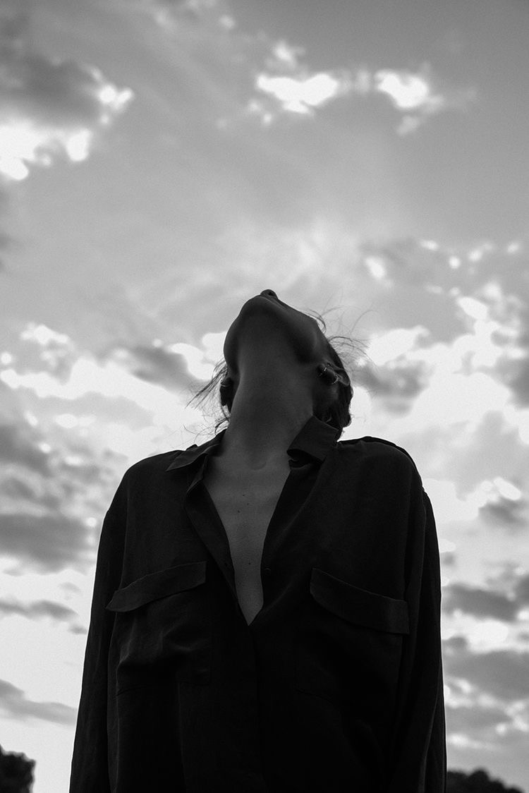 girl, sky, and black and white image