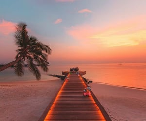 beach, sunset, and Maldives image