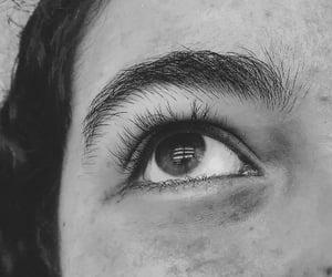 black and white, eye, and girl image