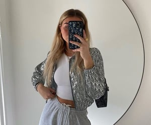 mirror selfie, long blond hair, and white crop top image