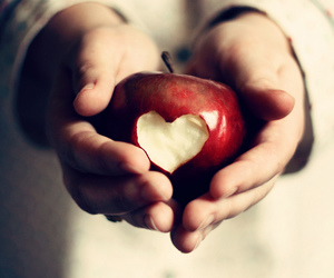 love, apple, and heart image