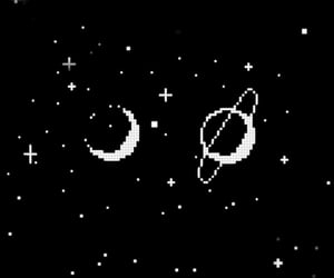 background, black and white, and planet image