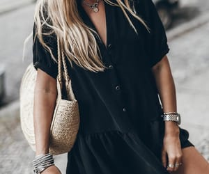 black dress, look, and blondhair image