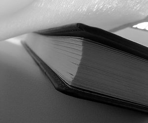 black and white and book image