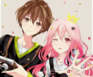 anime, couple, and pink hair image