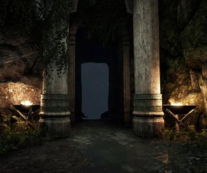 ancient, fire, and pillars image