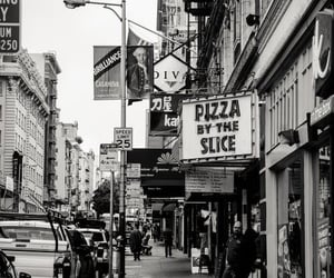 black and white, city, and pizza image