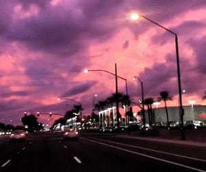 aesthetic, palm trees, and pink sky image