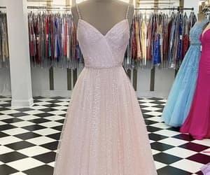 prom dress, pink prom dress, and fashion image