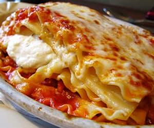 food, lasagna, and cheese image
